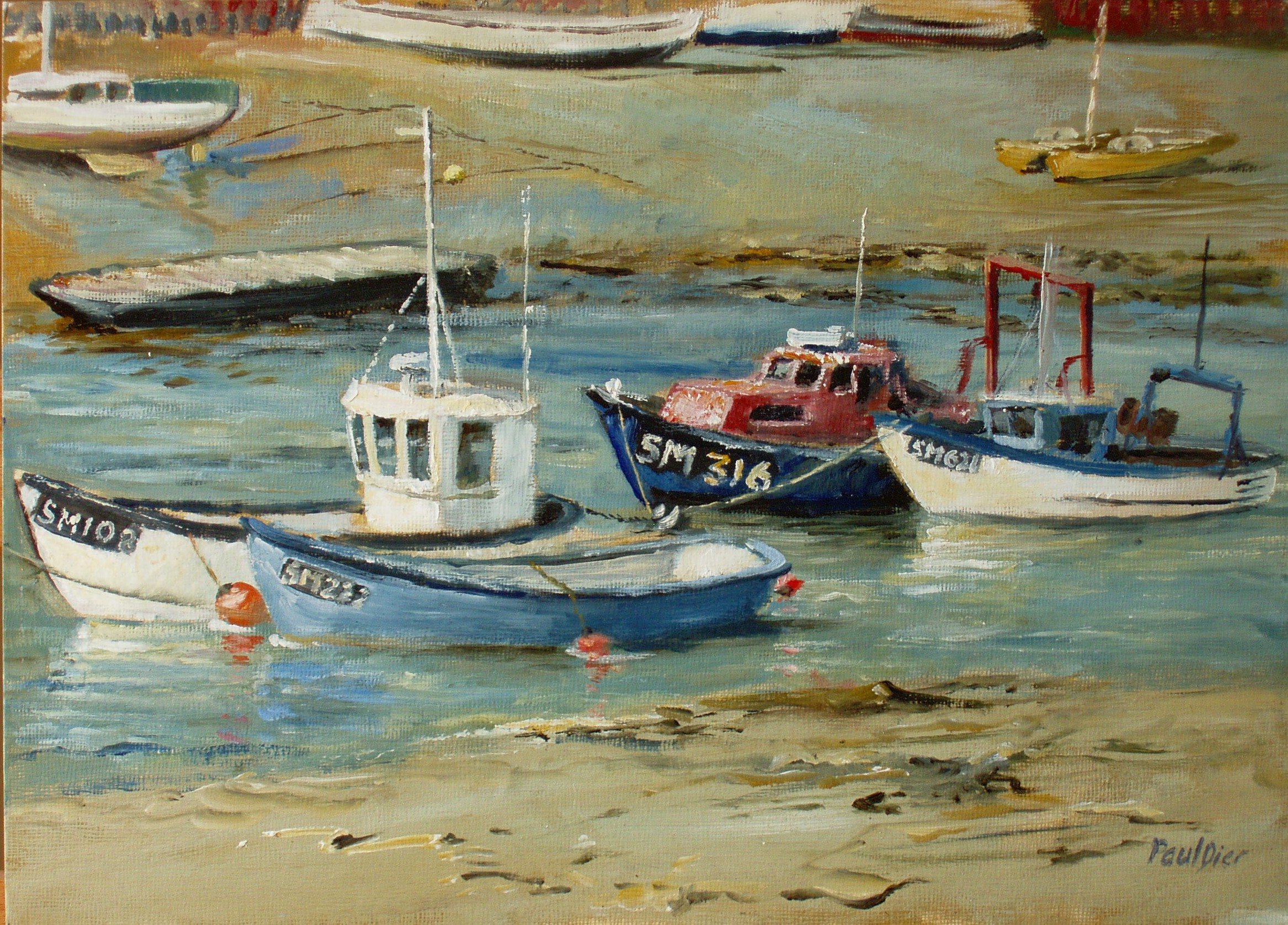 Paintings of the sussex coast by paul dier for Fishing boat painting