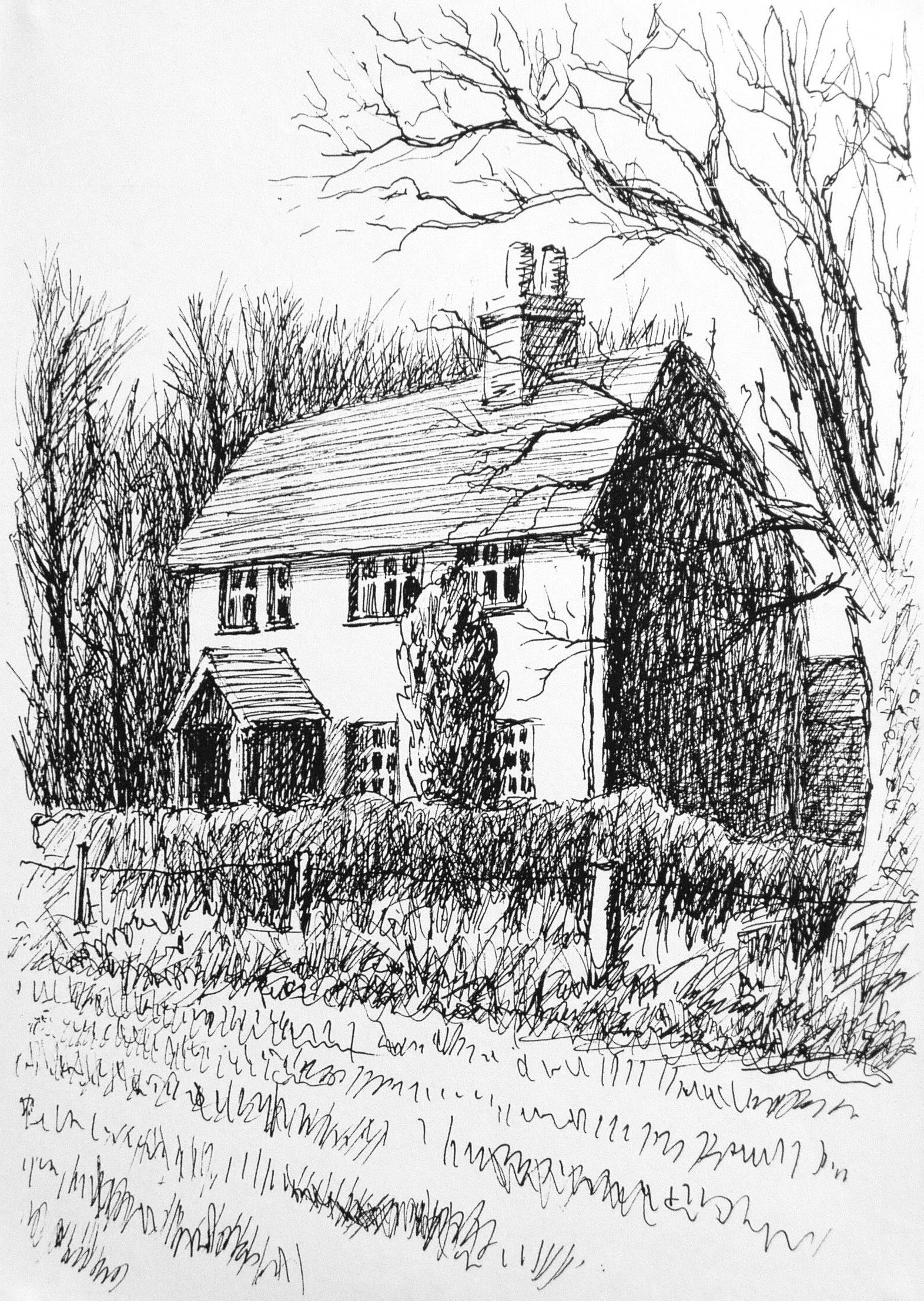 Line Art Pens : Cottage line drawing